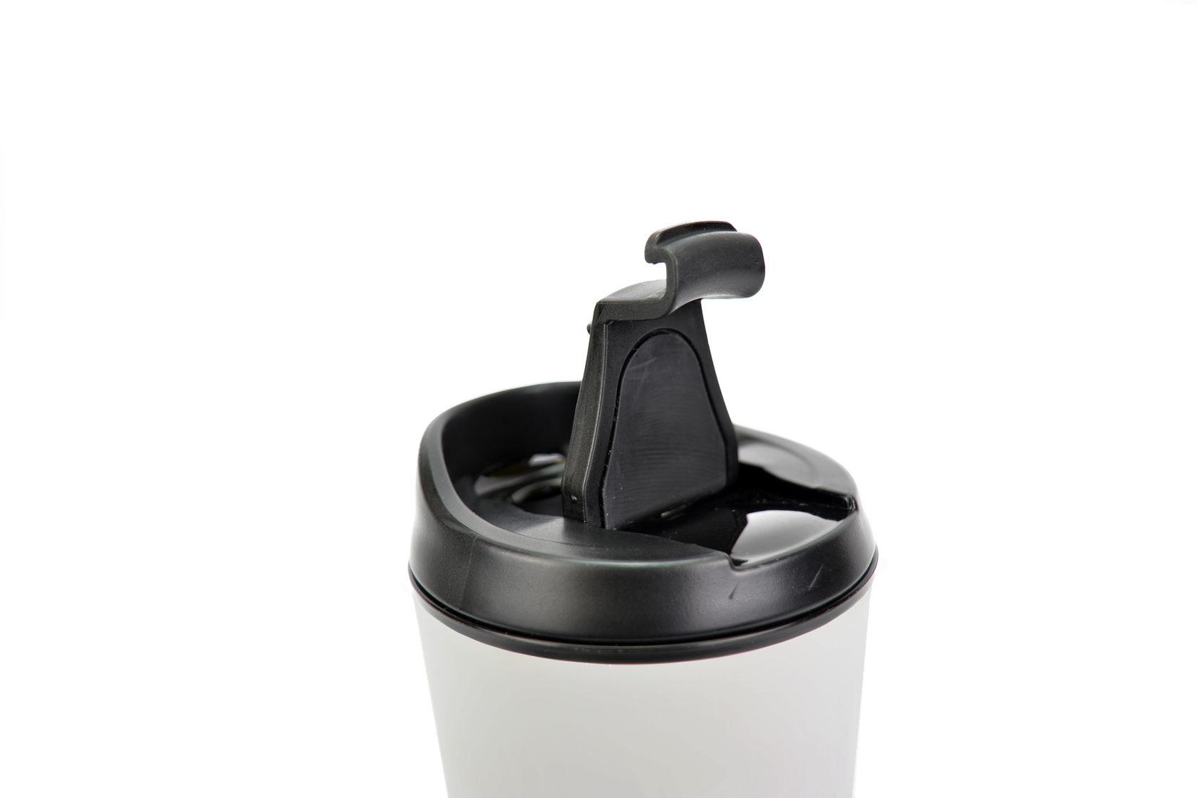 """Термокружка BOOL-BOOL  """"Одноразовость не в моде"""" с клапаном и утеплителем, 350 мл, белая"""