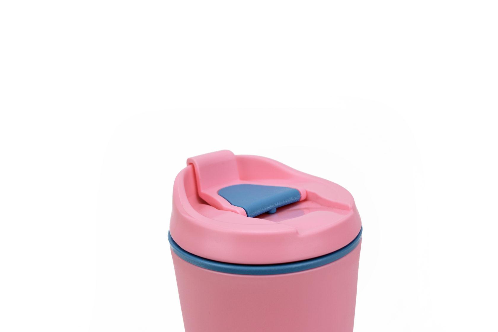 "Термокружка BOOL-BOOL ""Тату"", PP, с клапаном и утеплителем, 350 мл, розовая"