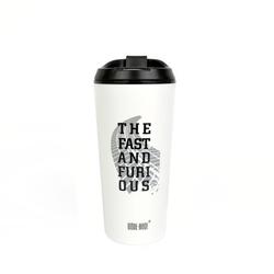 """Термокружка BOOL-BOOL  """"The fast and furi ous"""" с клапаном и утеплителем, 350 мл, белая"""