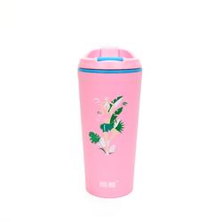 """Термокружка BOOL-BOOL """"Время йоги"""", PP, с клапаном и утеплителем, 350 мл, розовая"""